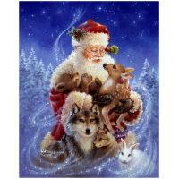 Kerstman met hert en andere dieren