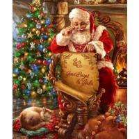 Kerstman bij kerstboom