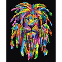 Kleurrijke rasta leeuw