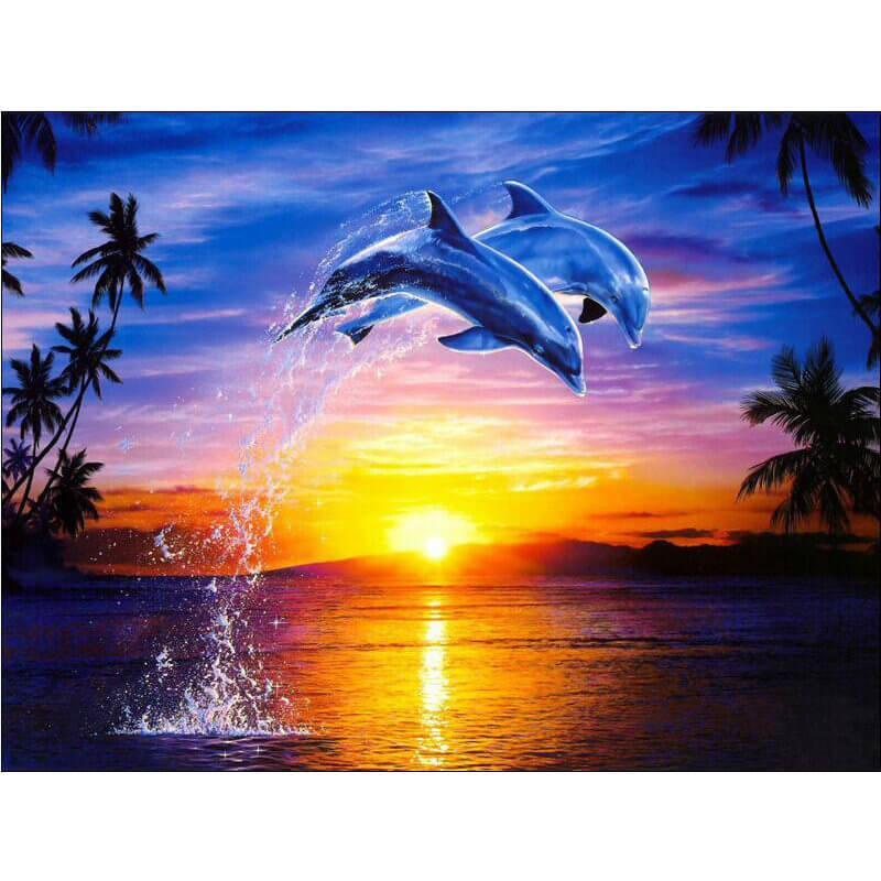 Ondergaande Zon En Dolfijnen Diamond Painting Doezelfnl Diamond