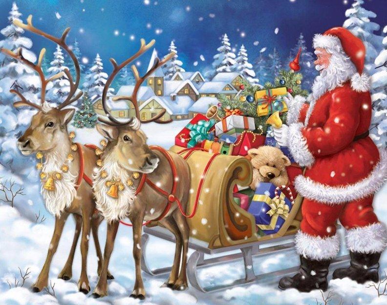 Kerstman met 2 rendieren en slee