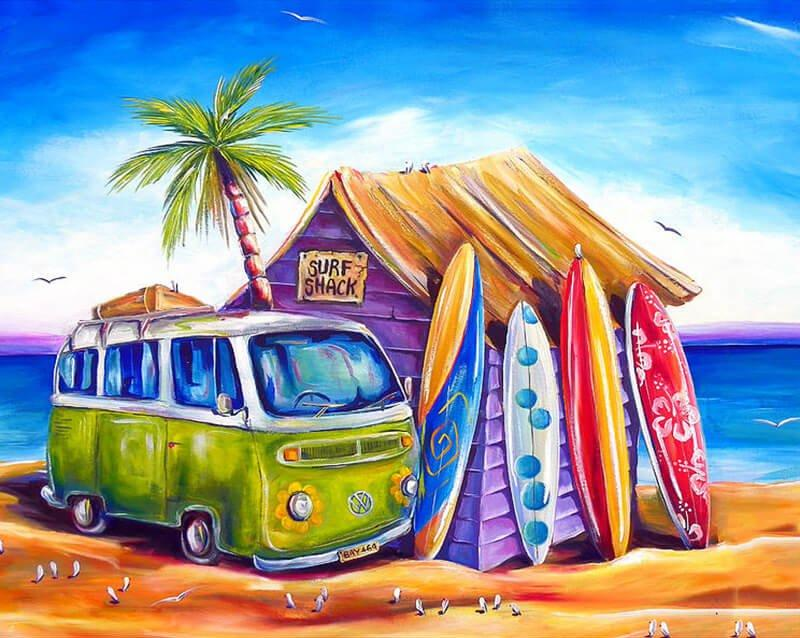 Volkswagen T1 Zee surfing - Diamond Painting