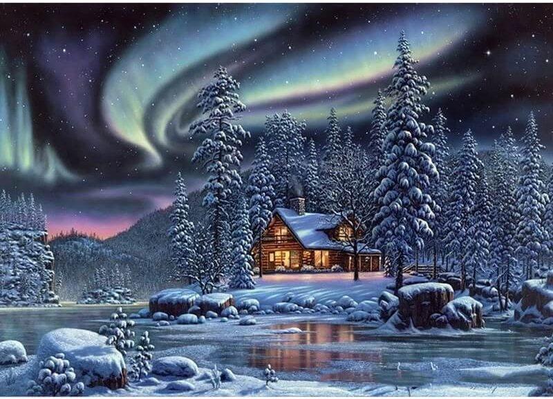Winter landschap met Noorderlicht