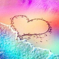 Hart liefde op het strand