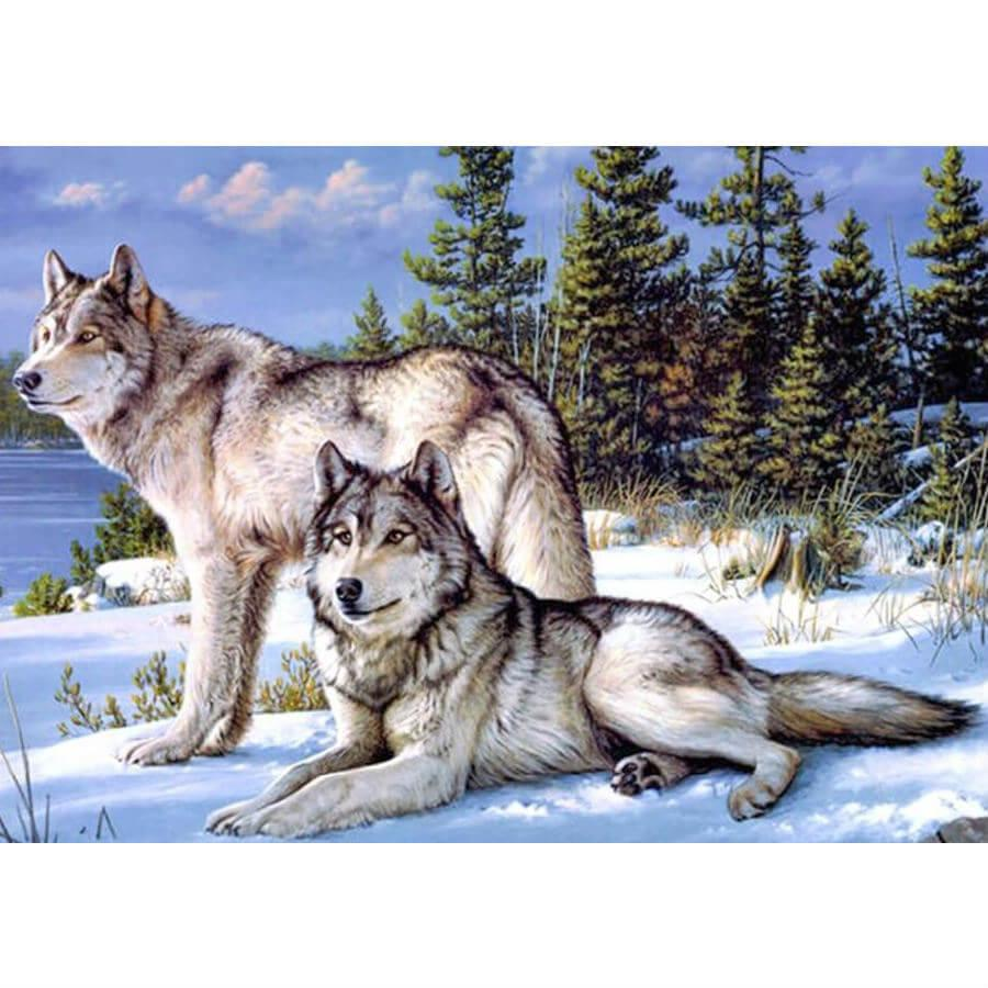 Wolven in Sneeuw Diamond Painting