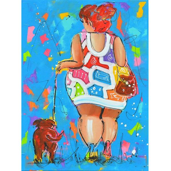 Dikke dame met hond
