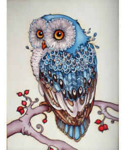 Blauwe uil Diamond Painting