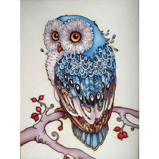 Blauwe uil Diamond Painting