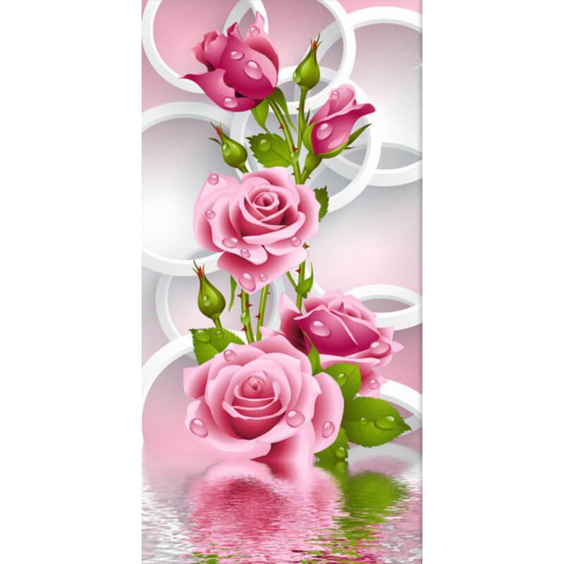Roze rozen Diamond Painting