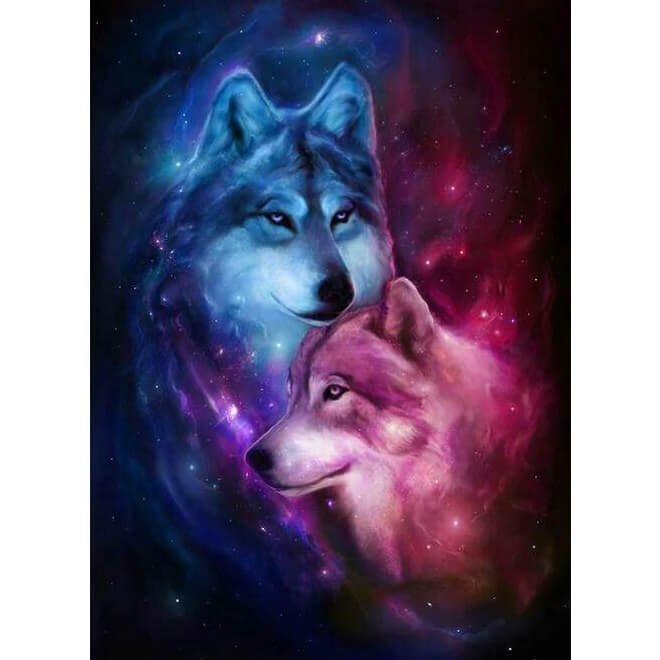 Wolven sterrenhemel Diamond Painting