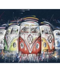 5 gekleurde Volkswagen T1 busjes