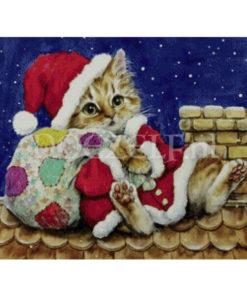 Kerstpoes bij schoorsteen