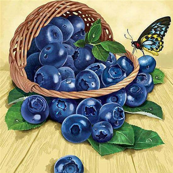 Blauwe bessen Diamond Painting