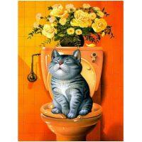 Kat op het toilet