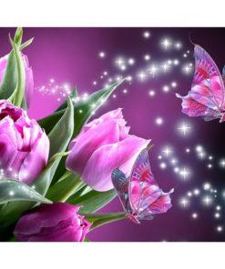 Roze tulpen met vlinder Diamond Painting