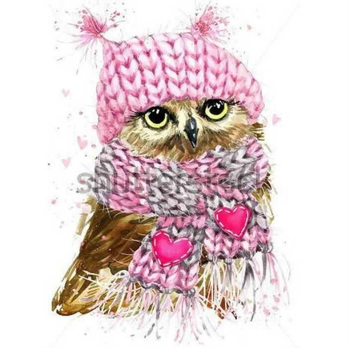 Roze winter uiltje Diamond Painting
