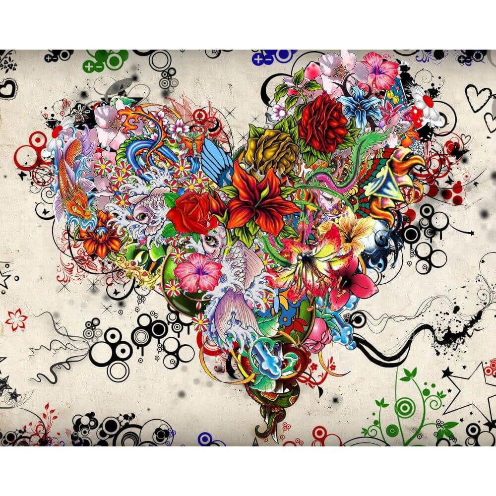 Bloemen hart Diamond Painting