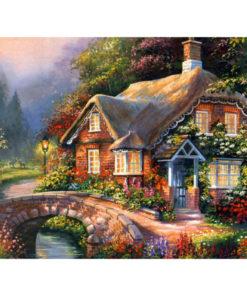 Bloemenhuis met rieten dak Diamond Painting