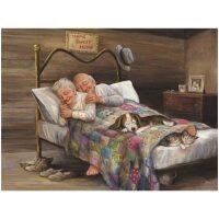 Opa en oma in bed Diamond Painting