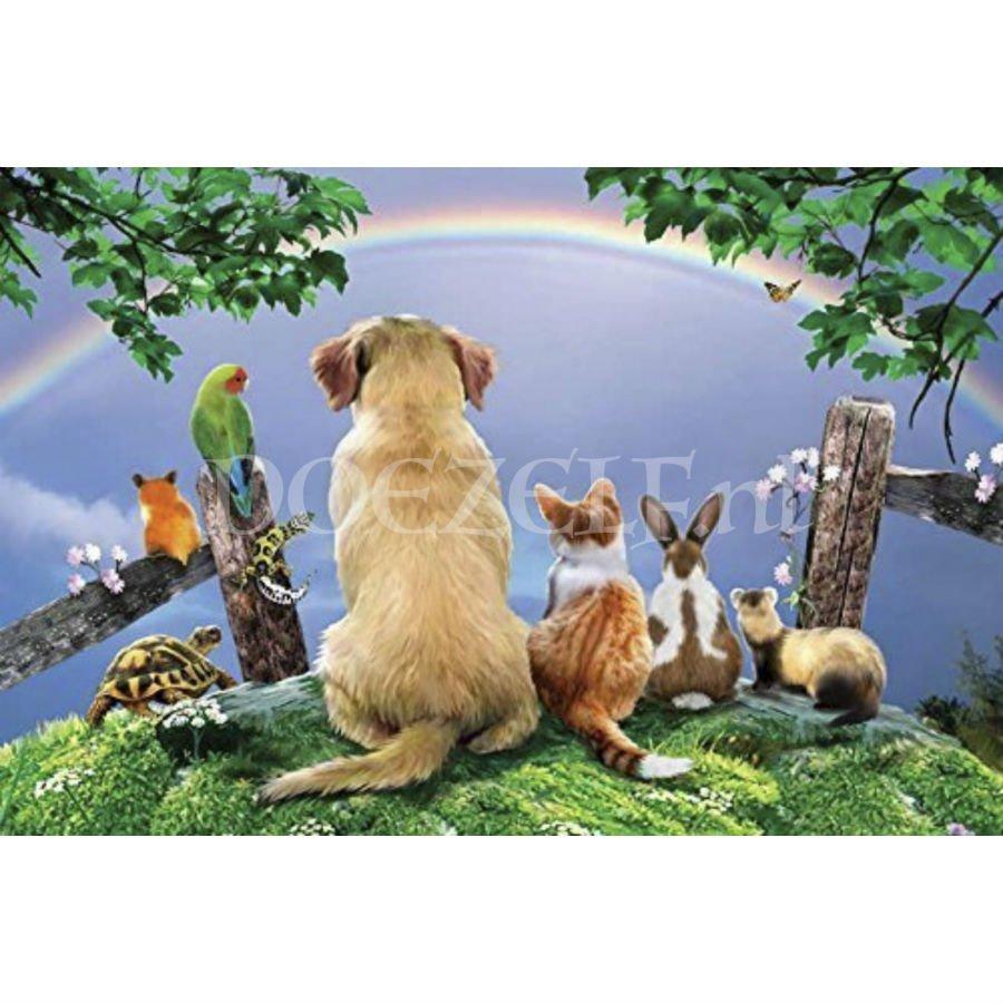 Huisdieren regenboogbrug Diamond Painting
