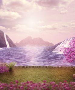 Sprookjesachtig meer met waterval Diamond Painting
