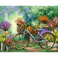 Bloemenmarkt op de fiets Diamond Painting