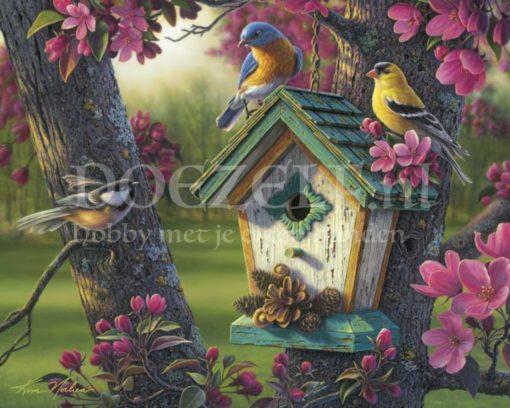 Vogeltjes in de lente Diamond Painting