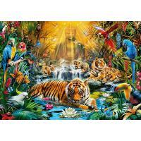 Boeddhistische jungle met tijgers