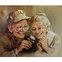 Opa en oma met een madeliefje Diamond Painting