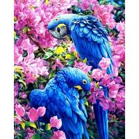 Papegaaien in roze bloesem Diamond Painting