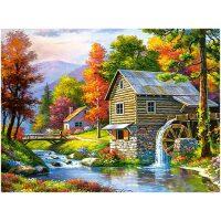 Huisje met watermolen Diamond Painting