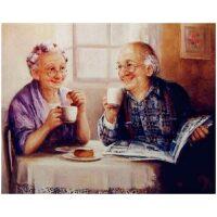 Koffie drinkende oma en opa Diamond Painting
