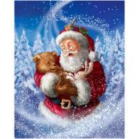 Beertje en konijn met kerstman Diamond Painting