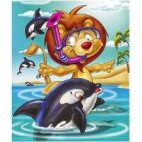 Snorkelende leeuw met dolfijn Diamond Painting