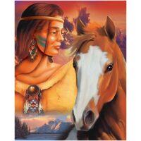 Indianen meisje met paard Diamond Painting