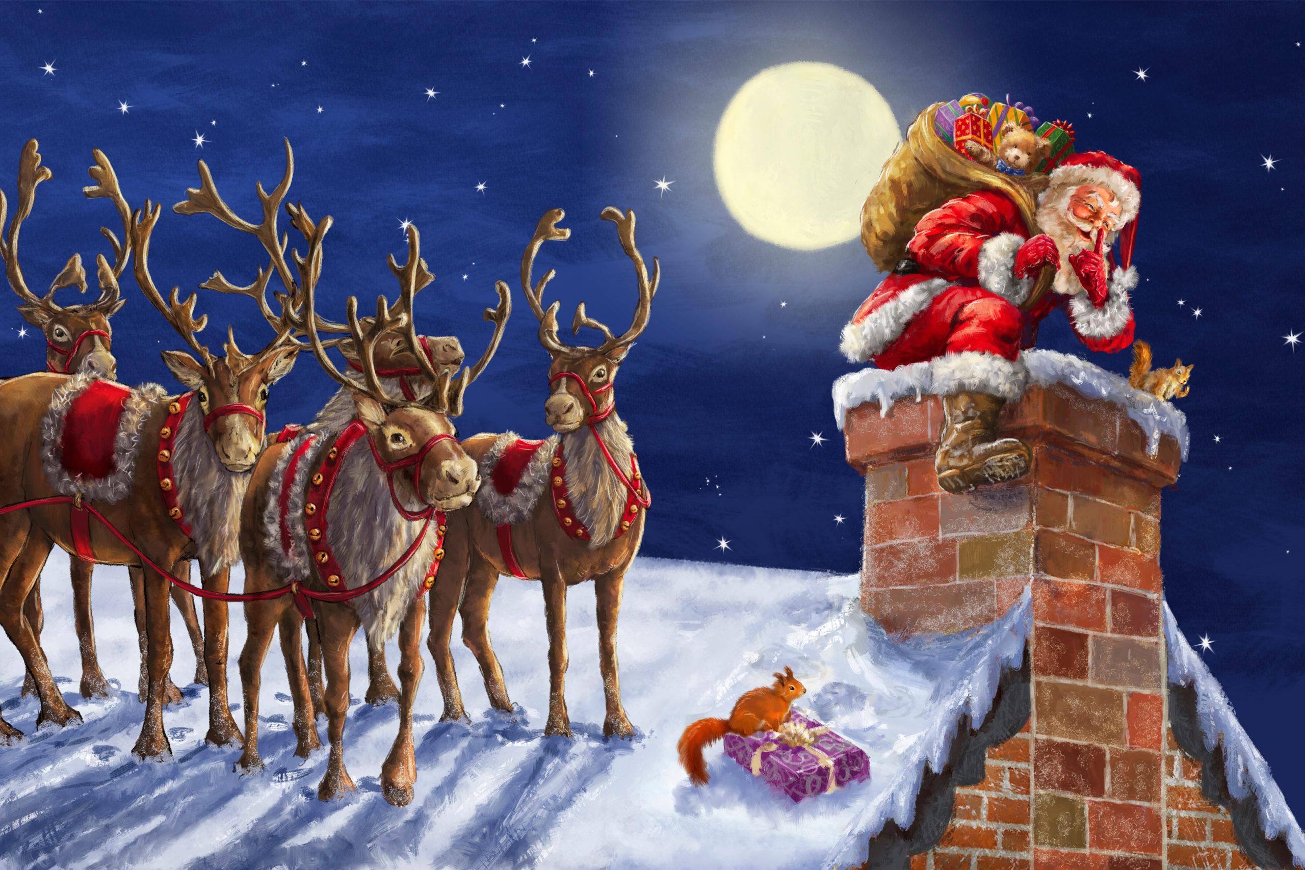 De kerstman met rendieren Diamond Painting - Doezelf.nl