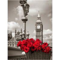 Big Ben met rode rozen Diamond Painting